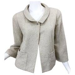 Chanel Spring 1999 Size 36 Fantasy Tweet Ivory Silver Vintage Cropped Jacket 99P