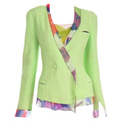 Chanel Spring 2000 Green Boucle Jacket With Camellia Flower Silk CC Monogram Top