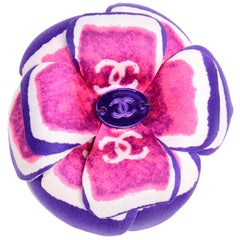 Chanel Spring 2001 Violet and Pink Camellia Flower Brooch W Tags & Original Box