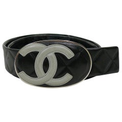 Chanel Spring 2005 Black and Grey Cambon CC Logo Quilted Leather Wide Belt