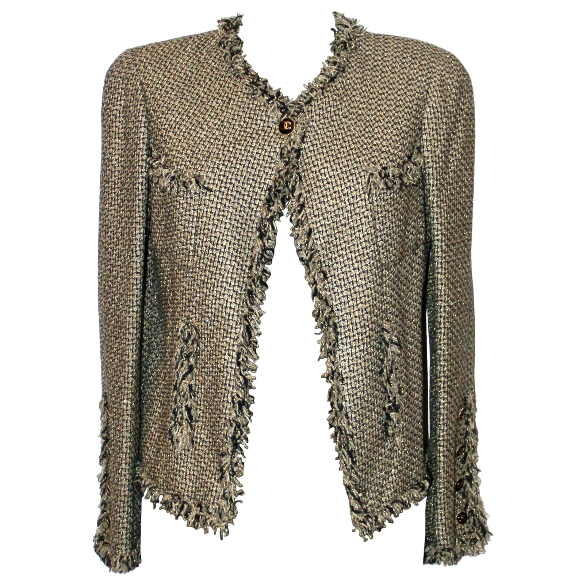 Chanel Spring 2007 Gold Lurex Beige and Black Tweed Jacket