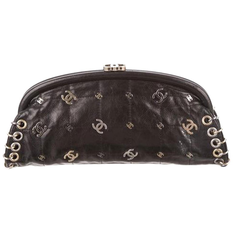 Chanel Spring 2007 Limited Edition Charm Rare Black Leather Clutch For Sale