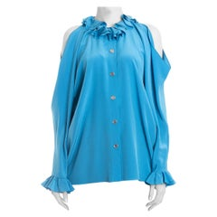 Chanel Spring 2017 Runway Turquoise Blue Silk Ruffle Cold Shoulder Blouse - 6