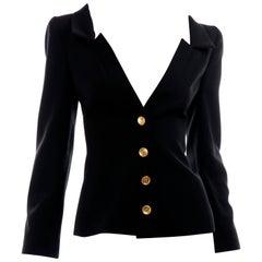 Chanel Spring Summer 2001 Black Wool Blazer Jacket