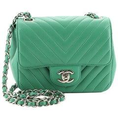 Chanel Square Classic Single Flap Bag Chevron Lambskin Mini