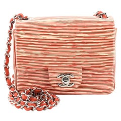 Chanel Square Classic Single Flap Bag Printed Patent Mini