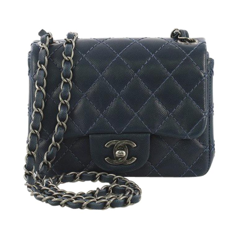 e870a036d8e2 Chanel Square Classic Single Flap Bag Quilted Caviar Mini For Sale ...