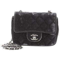 Chanel Square Classic Single Flap Bag Quilted Velvet Mini