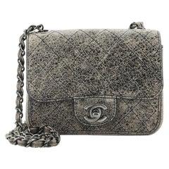 Chanel Square Classic Single Flap Bag Stitched Crackled Calfskin Mini