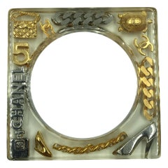 Chanel Square Lucite Bangle with Gold and Silver Inlaid Charms