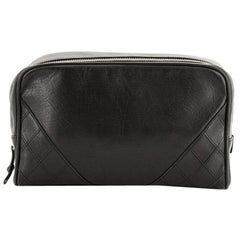 Chanel Square Stitch Toiletry Pouch Lambskin Small