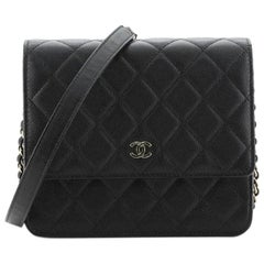 Chanel Square Wallet on Chain Quilted Caviar