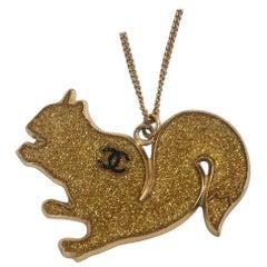 CHANEL squirrel GP necklace gold