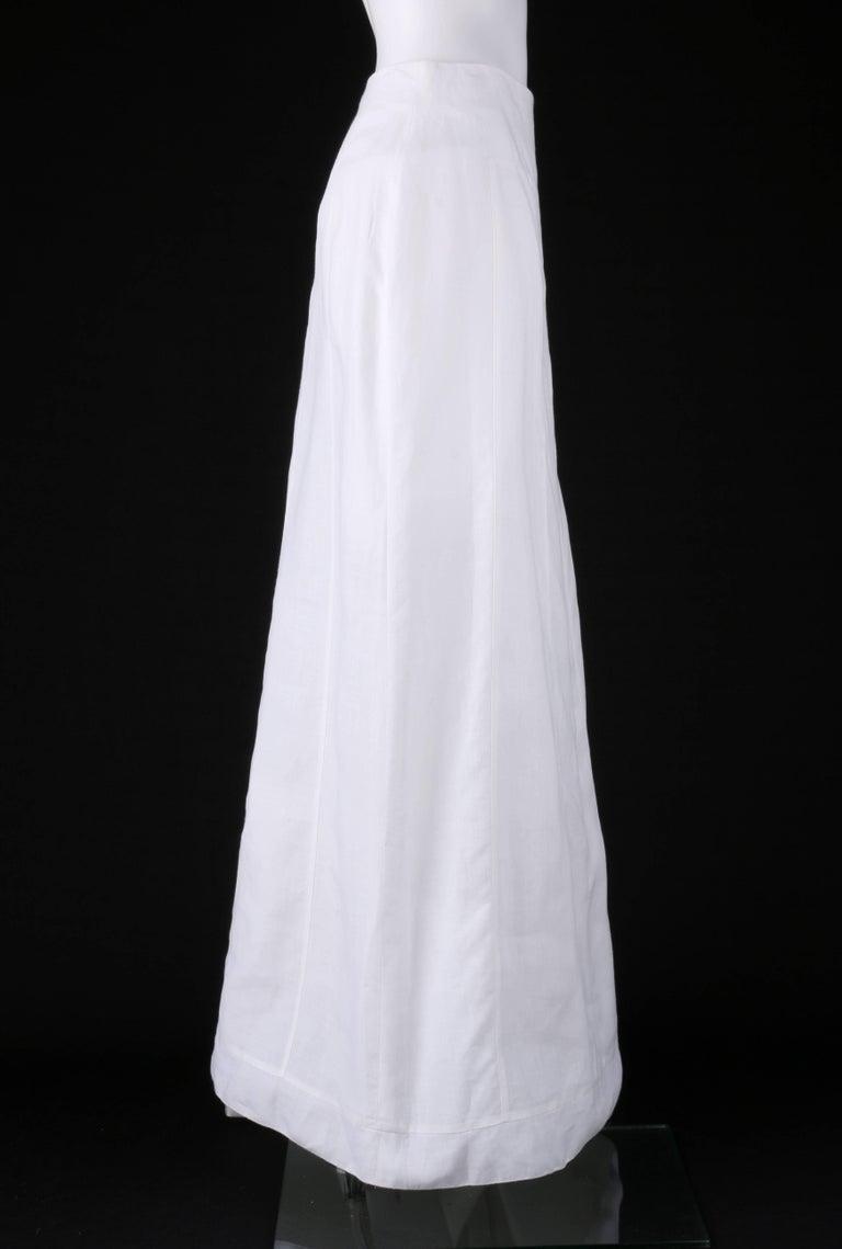 Gray CHANEL S/S 1999 White Linen Floor Length Classic Maxi Skirt NWT For Sale