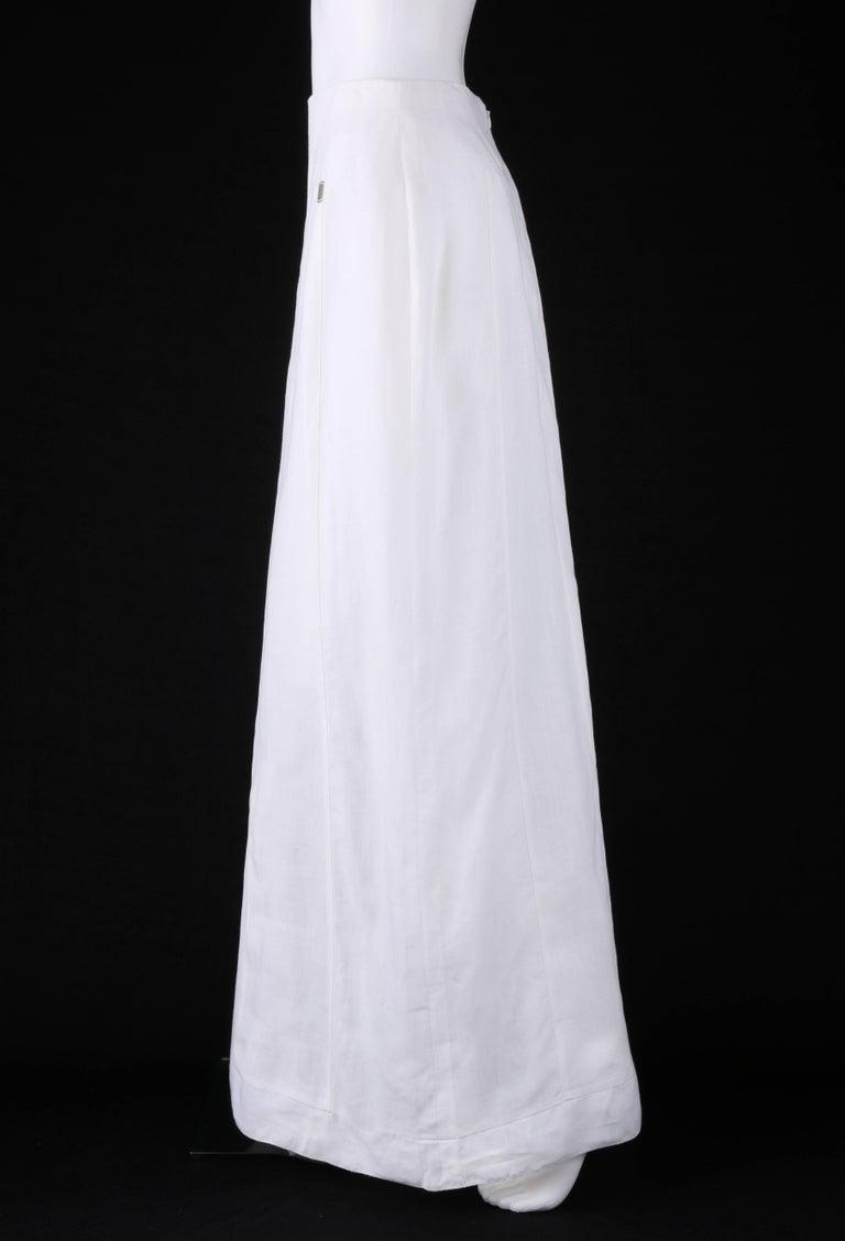 Women's CHANEL S/S 1999 White Linen Floor Length Classic Maxi Skirt NWT For Sale