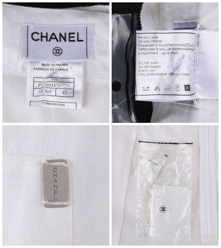 CHANEL S/S 1999 White Linen Floor Length Classic Maxi Skirt NWT For Sale 1