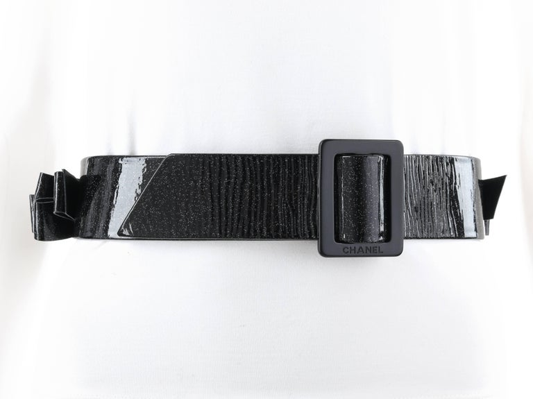 Women's CHANEL S/S 2008 Black Patent Glitter Leather Layered Bow Waist Belt For Sale