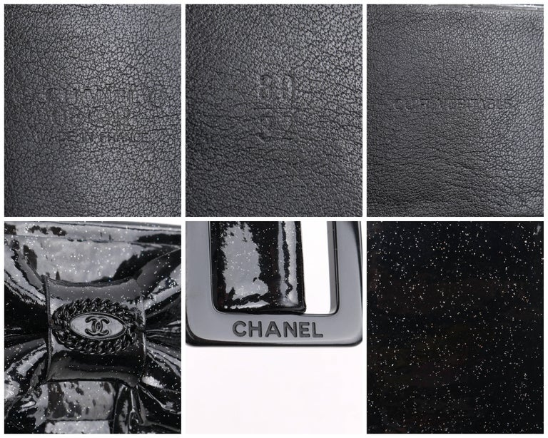 CHANEL S/S 2008 Black Patent Glitter Leather Layered Bow Waist Belt For Sale 3