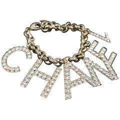 CHANEL SS19 Alphabet Logo Crystal Charm Bracelet