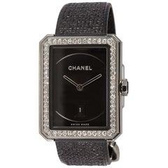 Chanel Stainless Steel Boyfriend Tweed Watch Medium with Diamonds H5318