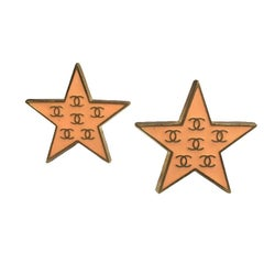 CHANEL Star Clip-on Earrings in Gilded Metal and Coral Enamel