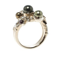 Chanel Star Comet Crystal Faux Pearl Gold Tone Ring Size 52.5