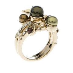Chanel Star Comete Crystal Faux Pearl Gold Tone Ring Size 51