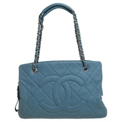 Chanel Stone Blue Quilted Caviar Leather Petite Timeless Tote