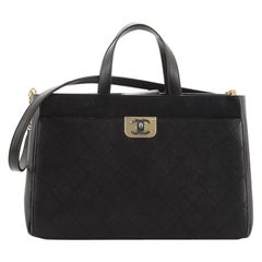 Chanel Straight Lines Zipped Shopping Tote Quilted Calfskin Large
