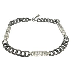 CHANEL Strass And Ruthenium Metal Chain Belt