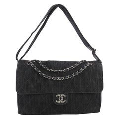Chanel Stretch Spirit Messenger Bag Quilted Denim Maxi