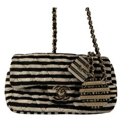 Chanel Striped Black and White Velvet Mini Crossbody Bag with Charms
