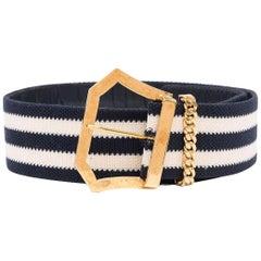 Chanel Striped Canvas Belt