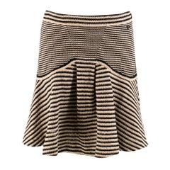 Chanel Striped-Knit Fluted-Hem Skirt FR 38