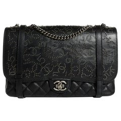 CHANEL Studded Calfskin Lambskin Paris Dallas Flap Black