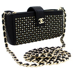 CHANEL Studs Rhinestone Mini Chain Shoulder Bag Black Crossbody Leather