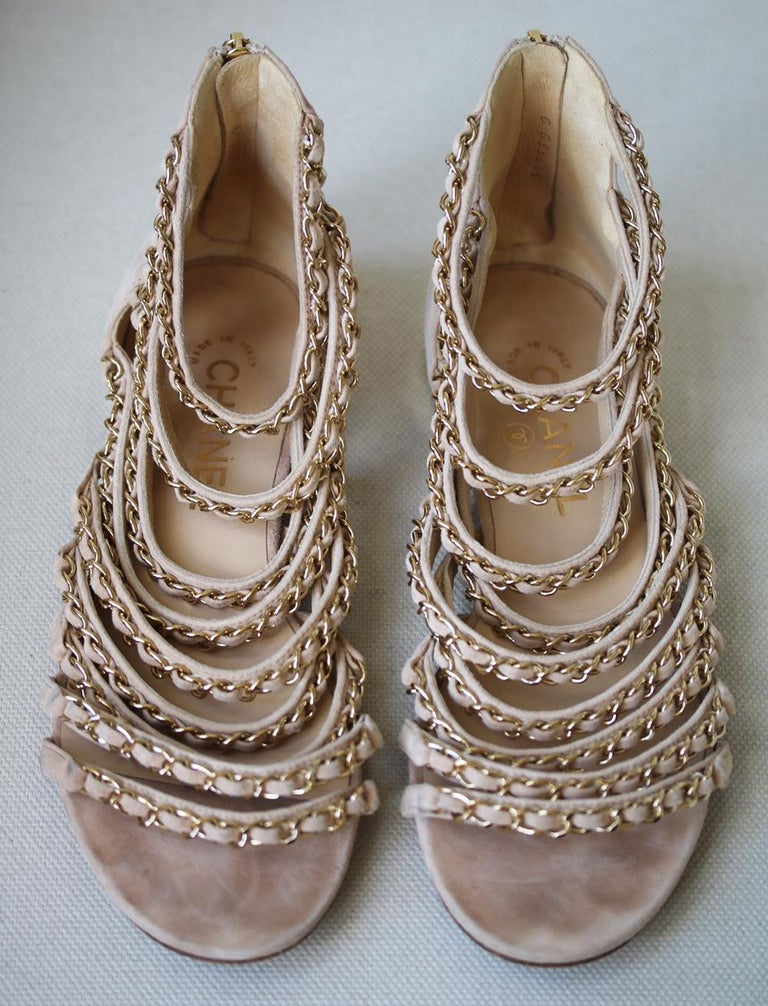 Women's Chanel Suede and Chain Gladiator Sandals  For Sale