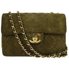 Chanel Suede Olive Green Leather Large Gold Evening Shoulder Flap Bag