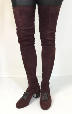 Chanel Suede Thigh High Boots with Gripoix Detail