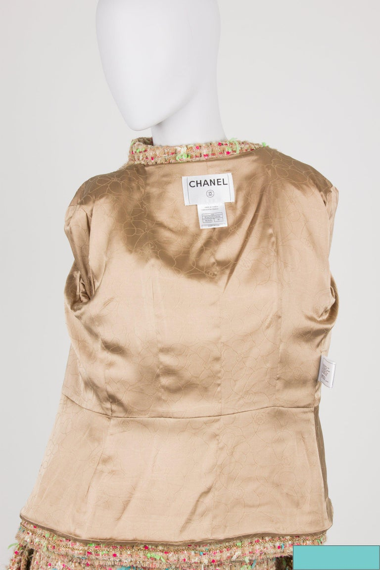 Chanel Suit 2-pcs Jacket & Skirt - beige/blue/pink/green For Sale 1