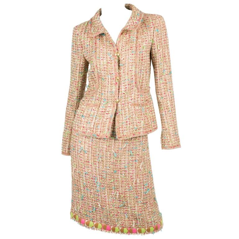 Chanel Suit 2-pcs Jacket & Skirt - beige/blue/pink/green For Sale