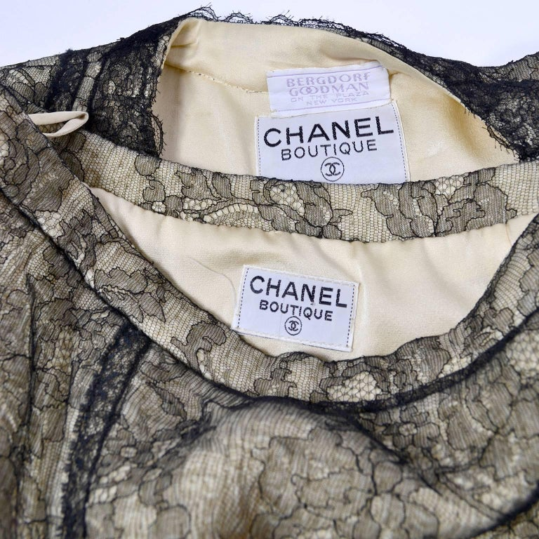Chanel Suit Skirt & Jacket in Cream Tweed Black Chantilly Lace Camellia Overlay For Sale 6