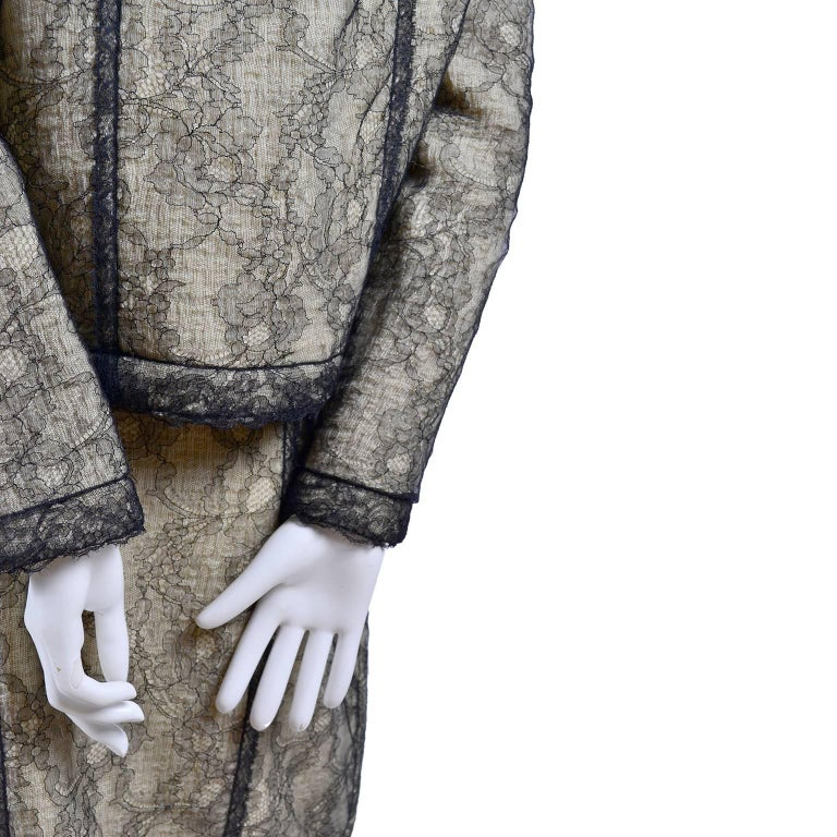 Chanel Suit Skirt & Jacket in Cream Tweed Black Chantilly Lace Camellia Overlay For Sale 2
