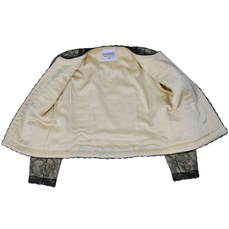 Chanel Suit Skirt & Jacket in Cream Tweed Black Chantilly Lace Camellia Overlay For Sale 4