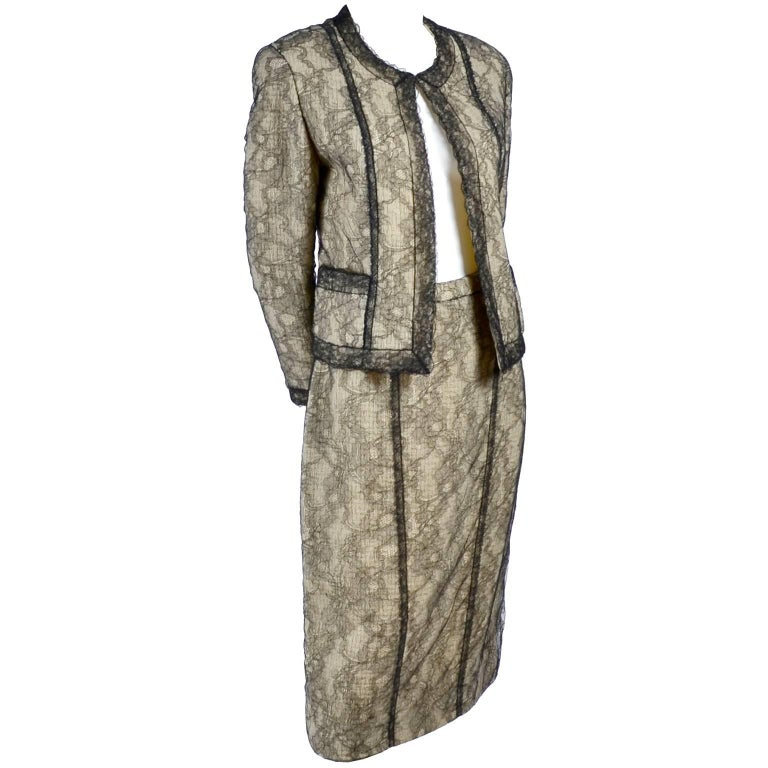 Chanel Suit Skirt & Jacket in Cream Tweed Black Chantilly Lace Camellia Overlay For Sale