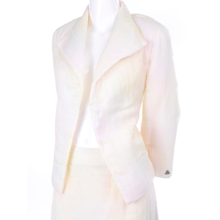 Chanel Suit With Skirt & Open Jacket in Ivory Pink & Yellow Pastel Ombre Silk For Sale 5