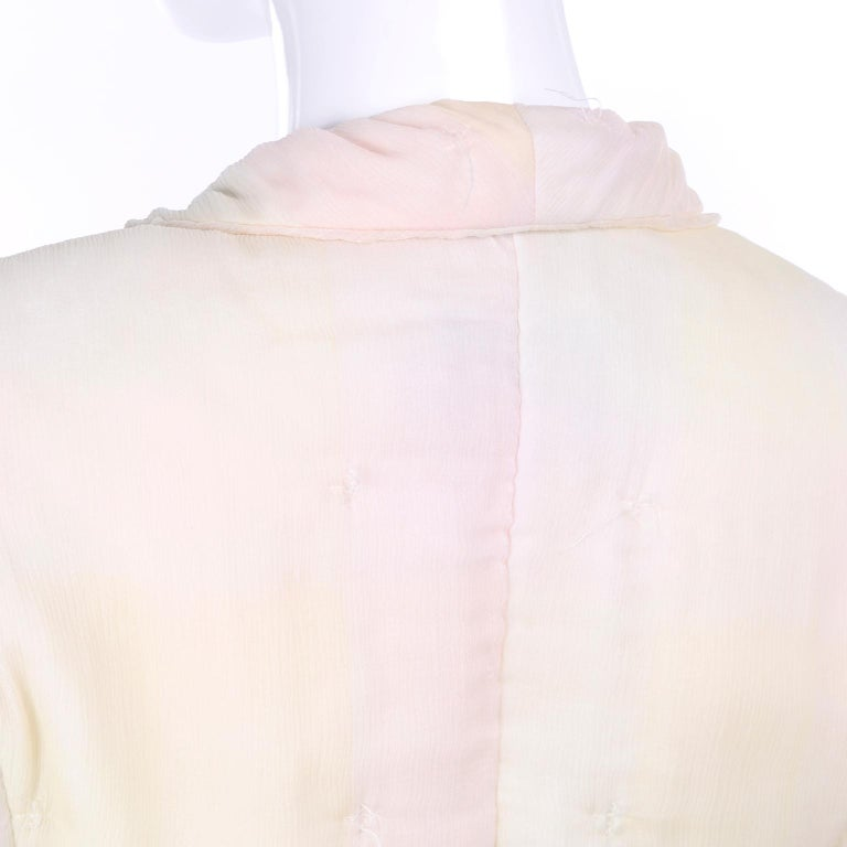 Chanel Suit With Skirt & Open Jacket in Ivory Pink & Yellow Pastel Ombre Silk For Sale 7
