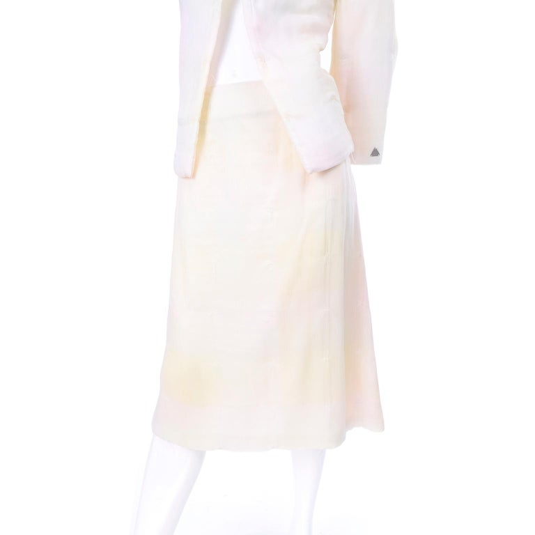 Chanel Suit With Skirt & Open Jacket in Ivory Pink & Yellow Pastel Ombre Silk For Sale 8
