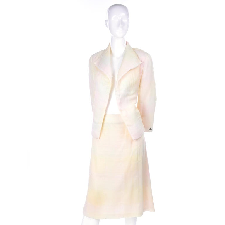 Gray Chanel Suit With Skirt & Open Jacket in Ivory Pink & Yellow Pastel Ombre Silk For Sale