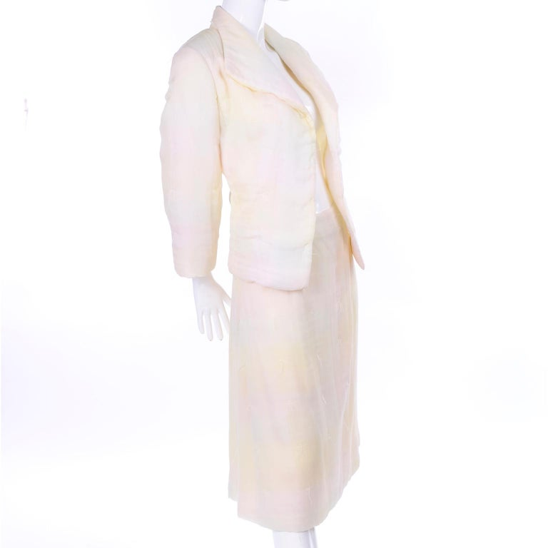 Women's Chanel Suit With Skirt & Open Jacket in Ivory Pink & Yellow Pastel Ombre Silk For Sale